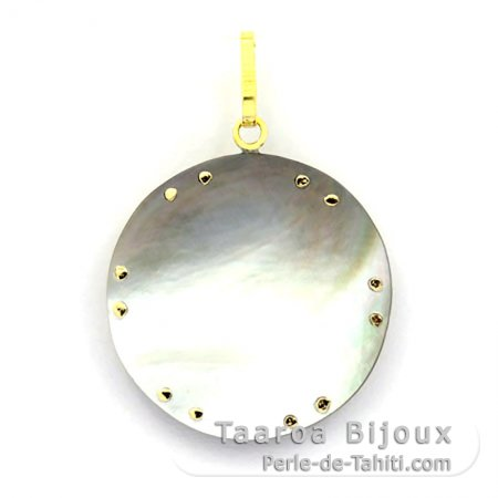 Ciondolo in Oro 18 K e Madreperla di Tahiti - Diametro = 27 mm - Manta Ray
