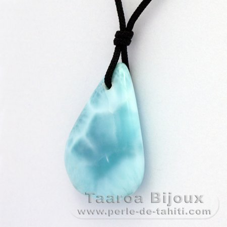 Collana in Nylon e 2 Larimar - 34 x 23 x 8.8 mm - 10 gr e 1.9 gr