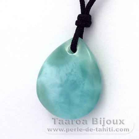 Collana in Nylon e 2 Larimar - 24.5 x 20 x 8 mm - 5.55 gr & 1.4 gr