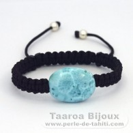 Braccialetto in Nylon e 1 Larimar - 16 x 21 x 8.1 mm - 4.6 gr