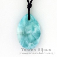 Collana in Nylon e 2 Larimar - 35 x 22.5 x 8.5 mm - 11.67 gr e 1.03 gr