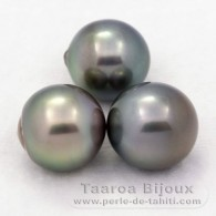 Lotto di 3 Perle di Tahiti Semi-Barroca C di 12 a 12.4 mm